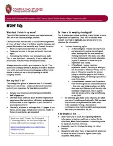 Employee Resume Tips – Adult Career and Special Student Services ...